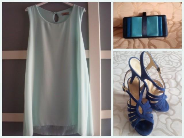 look invitada de boda, vestidos para bodas, vestidos de fiesta, look de fiesta, boda en primavera, boda en verano, look en mint, look en azul, vestido sencillo con collar llamativo